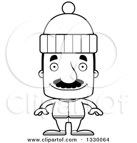 Lineart Clipart of a Cartoon Black and White Happy Block Headed Hispanic Man with a Mustache, in Winter Clothes - Royalty Free Outline Vector Illustration by Cory Thoman