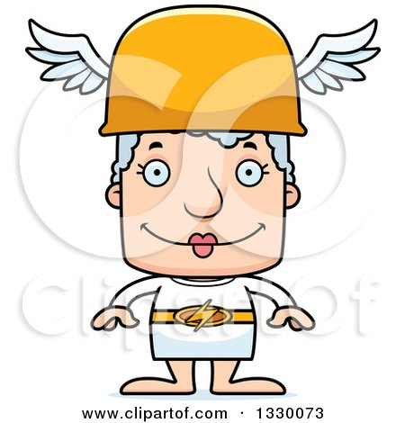 Clipart of a Cartoon Happy Block Headed White Senior Woman Hermes - Royalty Free Vector Illustration by Cory Thoman