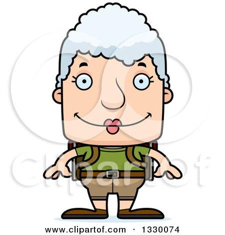 Clipart of a Cartoon Happy Block Headed White Senior Woman Hiker - Royalty Free Vector Illustration by Cory Thoman