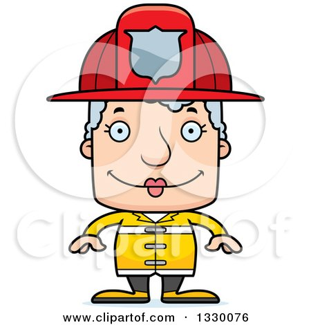 Clipart of a Cartoon Happy Block Headed White Senior Woman Firefighter - Royalty Free Vector Illustration by Cory Thoman