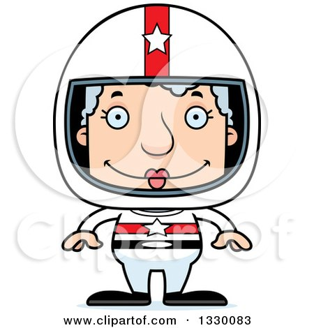 Clipart of a Cartoon Happy Block Headed White Senior Woman Race Car Driver - Royalty Free Vector Illustration by Cory Thoman