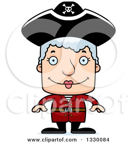 Clipart of a Cartoon Happy Block Headed White Pirate Senior Woman - Royalty Free Vector Illustration by Cory Thoman