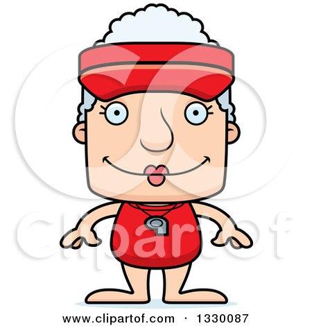 Clipart of a Cartoon Happy Block Headed White Senior Woman Lifeguard - Royalty Free Vector Illustration by Cory Thoman