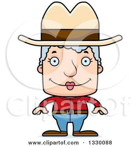 Clipart of a Cartoon Happy Block Headed White Senior Woman Cowgirl - Royalty Free Vector Illustration by Cory Thoman