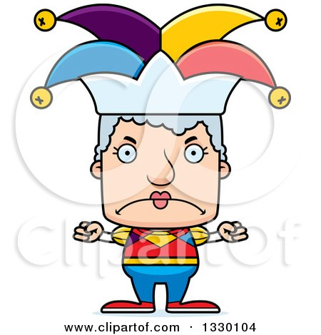 Clipart of a Cartoon Mad Block Headed White Senior Woman Jester - Royalty Free Vector Illustration by Cory Thoman