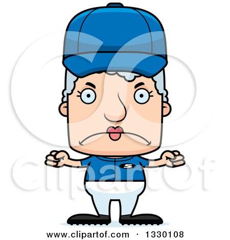 Clipart of a Cartoon Mad Block Headed White Senior Woman Baseball Player - Royalty Free Vector Illustration by Cory Thoman