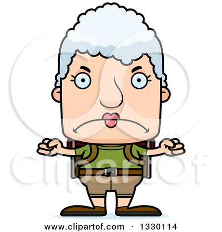 Clipart of a Cartoon Mad Block Headed White Senior Woman Hiker - Royalty Free Vector Illustration by Cory Thoman
