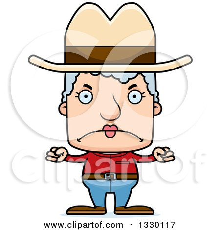 Clipart of a Cartoon Mad Block Headed White Senior Woman Cowgirl - Royalty Free Vector Illustration by Cory Thoman