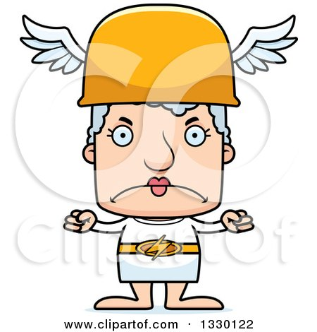Clipart of a Cartoon Mad Block Headed White Senior Woman Hermes - Royalty Free Vector Illustration by Cory Thoman