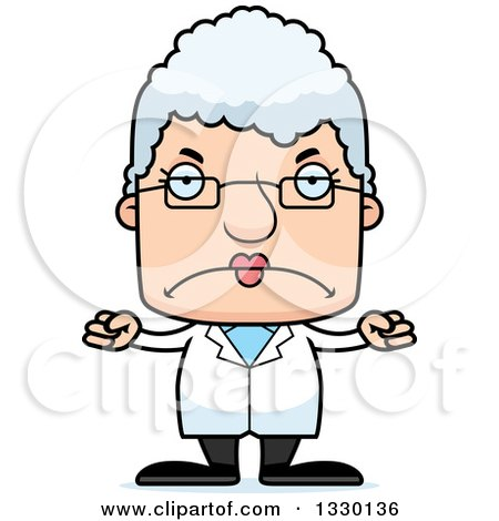 Clipart of a Cartoon Mad Block Headed White Senior Woman Scientist - Royalty Free Vector Illustration by Cory Thoman