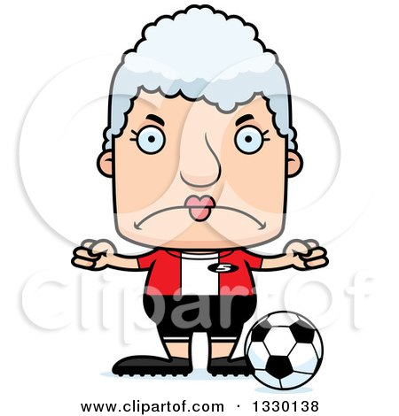 Clipart of a Cartoon Mad Block Headed White Senior Woman Soccer Player - Royalty Free Vector Illustration by Cory Thoman