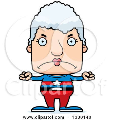 Clipart of a Cartoon Mad Block Headed White Super Senior Woman - Royalty Free Vector Illustration by Cory Thoman
