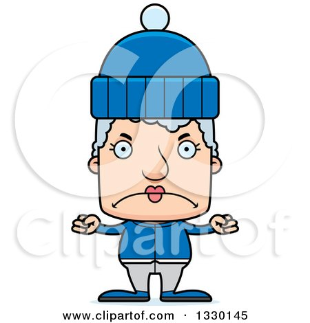 Clipart of a Cartoon Mad Block Headed White Senior Woman in Winter Clothes - Royalty Free Vector Illustration by Cory Thoman