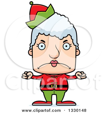 Clipart of a Cartoon Mad Block Headed White Senior Woman Christmas Elf - Royalty Free Vector Illustration by Cory Thoman