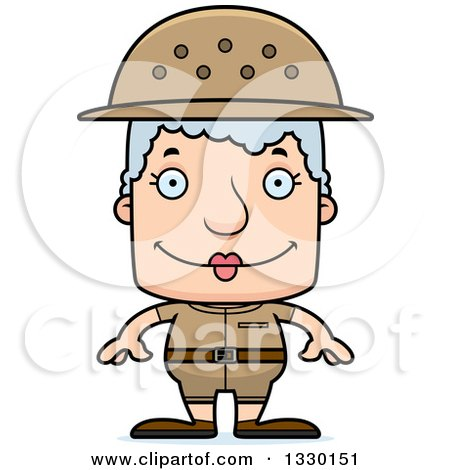 Clipart of a Cartoon Happy Block Headed White Senior Woman Zookeeper - Royalty Free Vector Illustration by Cory Thoman