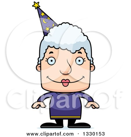 Clipart of a Cartoon Happy Block Headed White Senior Woman Wizard - Royalty Free Vector Illustration by Cory Thoman