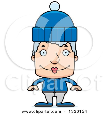 Clipart of a Cartoon Happy Block Headed White Senior Woman in Winter Clothes - Royalty Free Vector Illustration by Cory Thoman