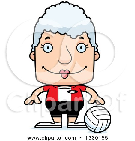 Clipart of a Cartoon Happy Block Headed White Senior Woman Volleyball Player - Royalty Free Vector Illustration by Cory Thoman