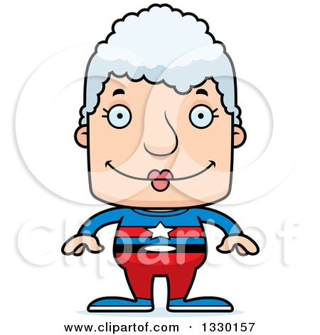 Clipart of a Cartoon Happy Block Headed White Super Senior Woman - Royalty Free Vector Illustration by Cory Thoman