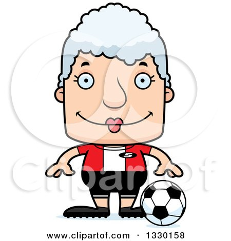 Clipart of a Cartoon Happy Block Headed White Senior Woman Soccer Player - Royalty Free Vector Illustration by Cory Thoman