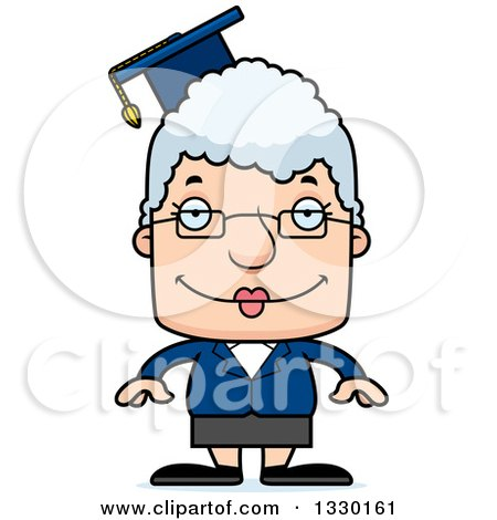 Clipart of a Cartoon Happy Block Headed White Senior Woman Professor - Royalty Free Vector Illustration by Cory Thoman