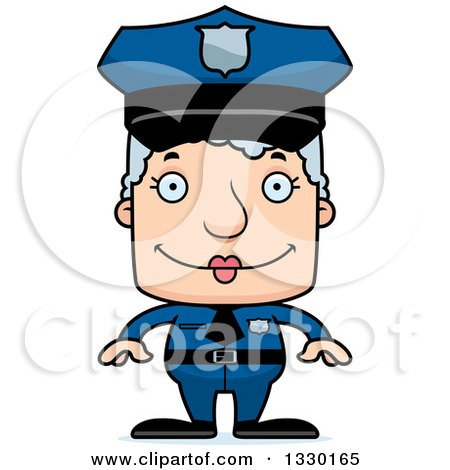 Clipart of a Cartoon Happy Block Headed White Senior Woman Police Officer - Royalty Free Vector Illustration by Cory Thoman