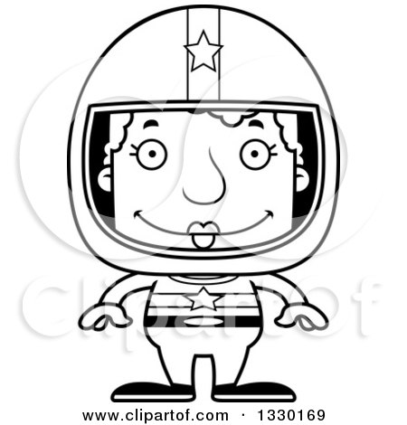 Lineart Clipart of a Cartoon Black and White Happy Block Headed White Senior Woman Race Car Driver - Royalty Free Outline Vector Illustration by Cory Thoman