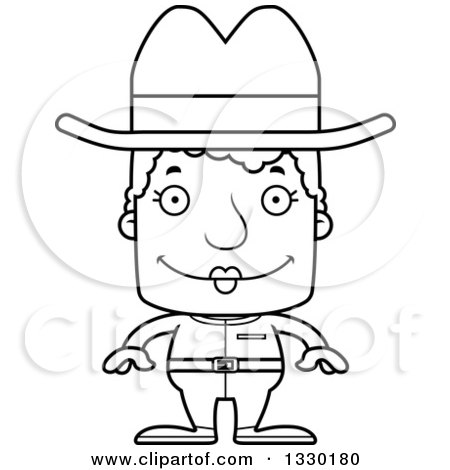 Lineart Clipart of a Cartoon Black and White Happy Block Headed White Senior Woman Cowgirl - Royalty Free Outline Vector Illustration by Cory Thoman