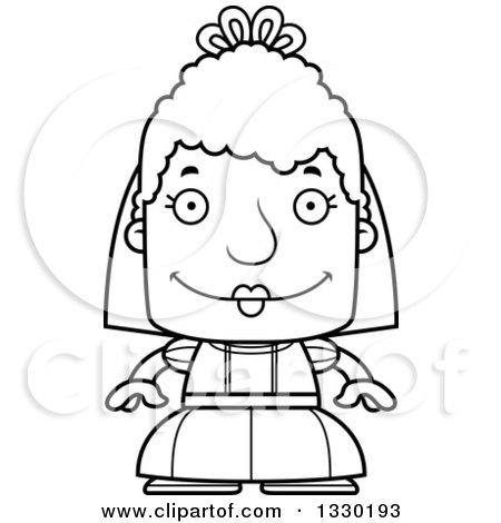Lineart Clipart of a Cartoon Black and White Happy Block Headed White Senior Woman Bride - Royalty Free Outline Vector Illustration by Cory Thoman
