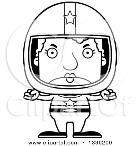 Lineart Clipart of a Cartoon Black and White Mad Block Headed White Senior Woman Race Car Driver - Royalty Free Outline Vector Illustration by Cory Thoman