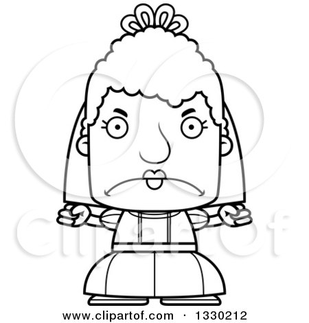 Lineart Clipart of a Cartoon Black and White Mad Block Headed White Senior Woman Bride - Royalty Free Outline Vector Illustration by Cory Thoman