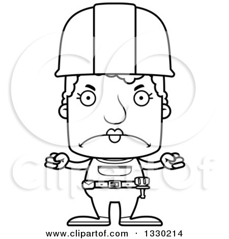 Lineart Clipart of a Cartoon Black and White Mad Block Headed White Senior Woman Construction Worker - Royalty Free Outline Vector Illustration by Cory Thoman