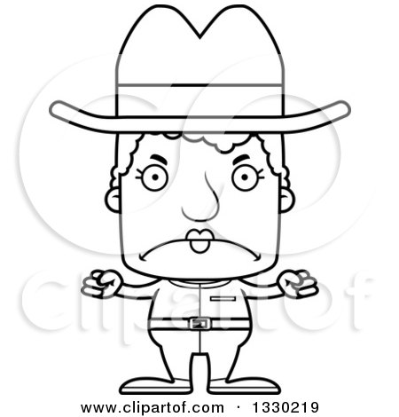 Lineart Clipart of a Cartoon Black and White Mad Block Headed White Senior Woman Cowgirl - Royalty Free Outline Vector Illustration by Cory Thoman