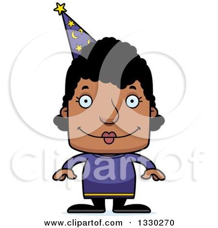 Clipart of a Cartoon Happy Block Headed Black Woman Wizard - Royalty Free Vector Illustration by Cory Thoman
