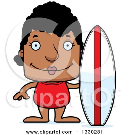 Clipart of a Cartoon Happy Block Headed Black Woman Surfer - Royalty Free Vector Illustration by Cory Thoman