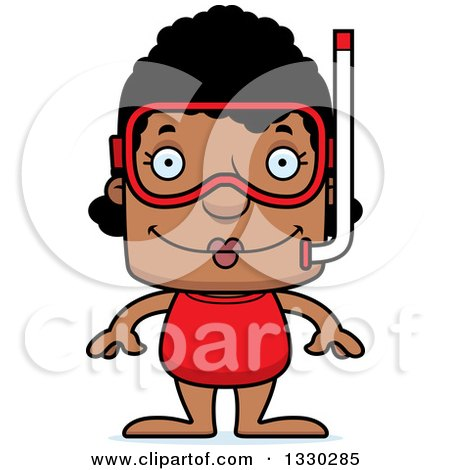 Clipart of a Cartoon Happy Block Headed Black Woman in Snorkel Gear - Royalty Free Vector Illustration by Cory Thoman