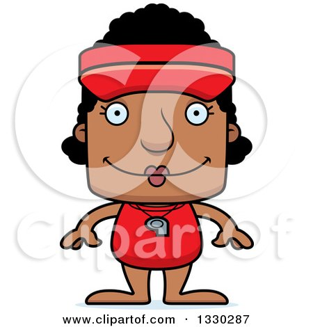 Clipart of a Cartoon Happy Block Headed Black Woman Lifeguard - Royalty Free Vector Illustration by Cory Thoman