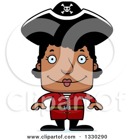 Clipart of a Cartoon Happy Block Headed Black Woman Pirate - Royalty Free Vector Illustration by Cory Thoman