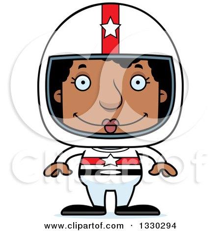 Clipart of a Cartoon Happy Block Headed Black Woman Race Car Driver - Royalty Free Vector Illustration by Cory Thoman