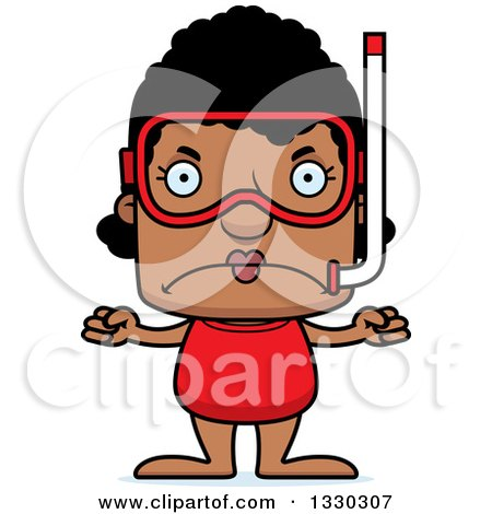 Clipart of a Cartoon Mad Block Headed Black Woman in Snorkel Gear - Royalty Free Vector Illustration by Cory Thoman