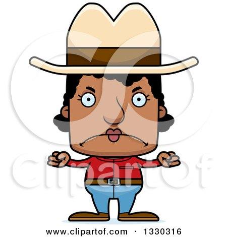 Clipart of a Cartoon Mad Block Headed Black Woman Cowboy - Royalty Free Vector Illustration by Cory Thoman