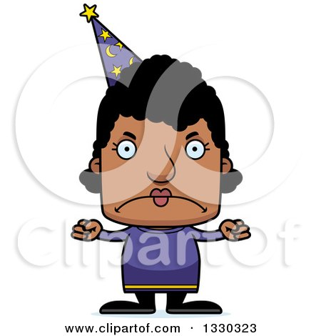 Clipart of a Cartoon Mad Block Headed Black Woman Wizard - Royalty Free Vector Illustration by Cory Thoman
