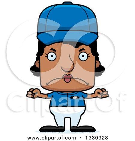 Clipart of a Cartoon Mad Block Headed Black Woman Baseball Player - Royalty Free Vector Illustration by Cory Thoman