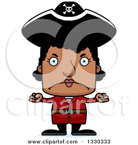 Clipart of a Cartoon Mad Block Headed Black Woman Pirate - Royalty Free Vector Illustration by Cory Thoman