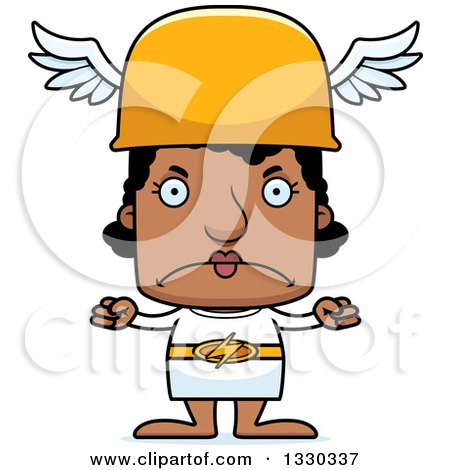 Clipart of a Cartoon Mad Block Headed Black Woman Hermes - Royalty Free Vector Illustration by Cory Thoman