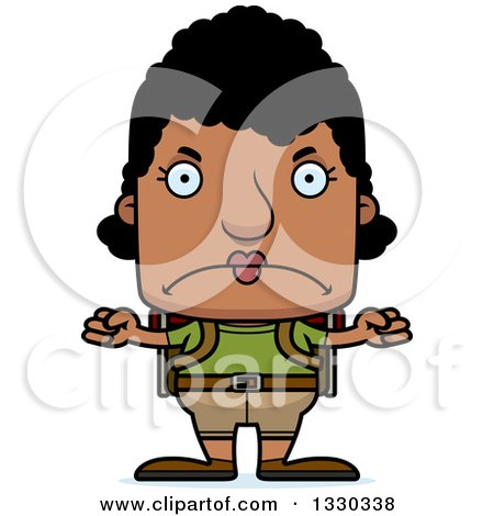 Clipart of a Cartoon Mad Block Headed Black Woman Hiker - Royalty Free Vector Illustration by Cory Thoman