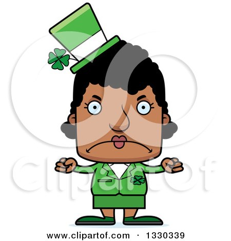 Clipart of a Cartoon Mad Block Headed Black St Patricks Day Woman - Royalty Free Vector Illustration by Cory Thoman