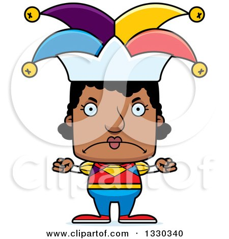 Clipart of a Cartoon Mad Block Headed Black Woman Jester - Royalty Free Vector Illustration by Cory Thoman