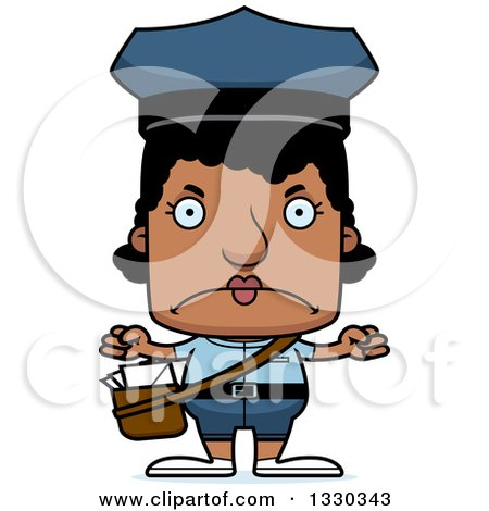 Clipart of a Cartoon Mad Block Headed Black Mail Woman - Royalty Free Vector Illustration by Cory Thoman