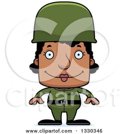 Clipart of a Cartoon Happy Block Headed Black Woman Soldier - Royalty Free Vector Illustration by Cory Thoman